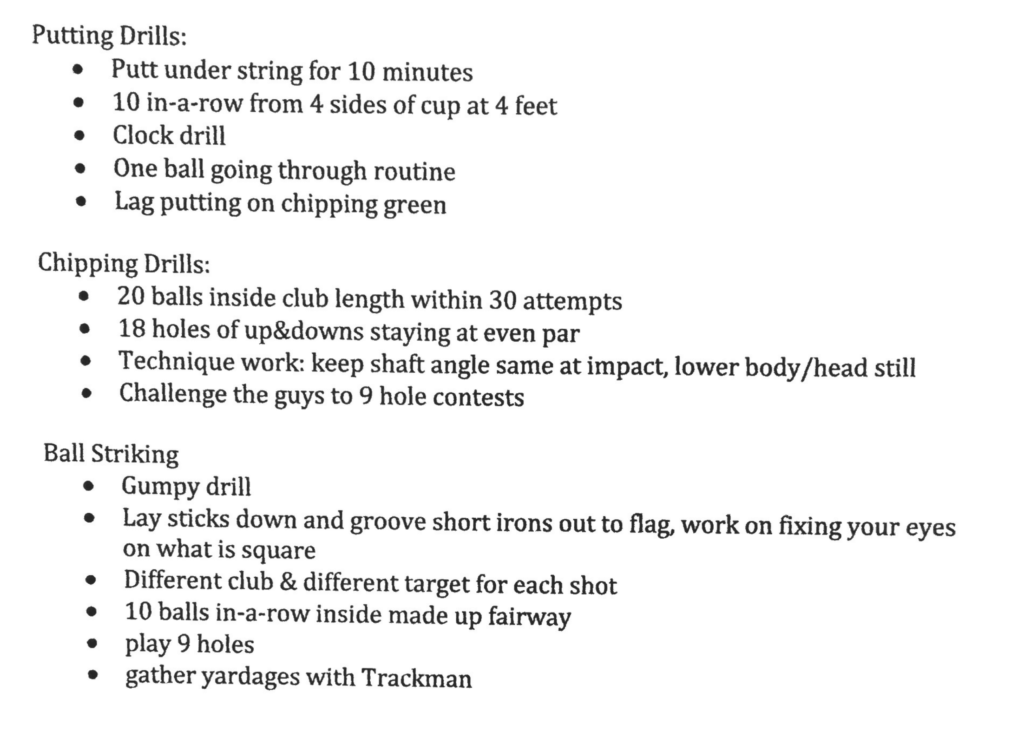 This is one of my players from Ohio State. I liked how he listed numerous drills and completed 2 of them each day. He basically had a menu of drills so he always had something to do.