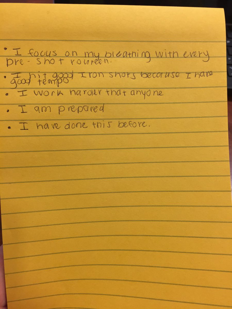 Example of 5 affirmation statements written down.
